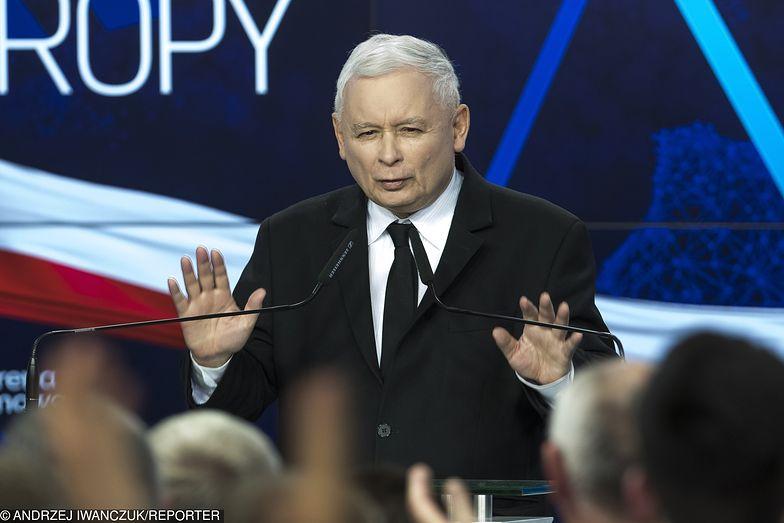 Wyniki wyborów do europarlamentu 2019. Na zdj. prezes PiS Jarosław Kaczyński