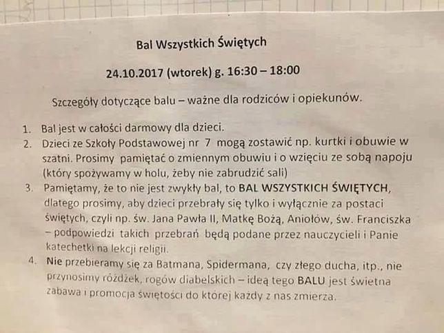 Ogłoszenie widocznej w jednej z polskich parafii.