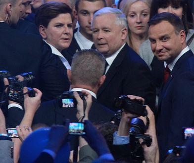 Beata Szydło, Jarosław Kaczyński i Andrzej Duda w czerwcu 2015 roku.