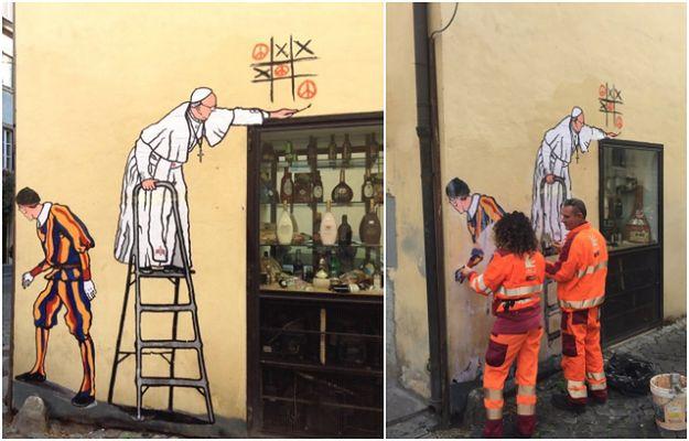 Usuni to wspania y mural z papie em franciszkiem nawet for Mural z papiezem franciszkiem