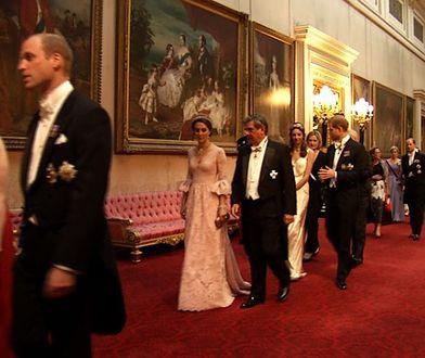 Kate, William i Harry ugościli hiszpańską królewską parę. Księżna była olśniewająca!