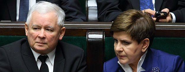 Jarosław Kaczyński i Beata Szydło w sejmowych ławach