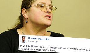 Krystyna Pawłowicz przeprasza sędziów. A przynajmniej... próbuje przeprosić