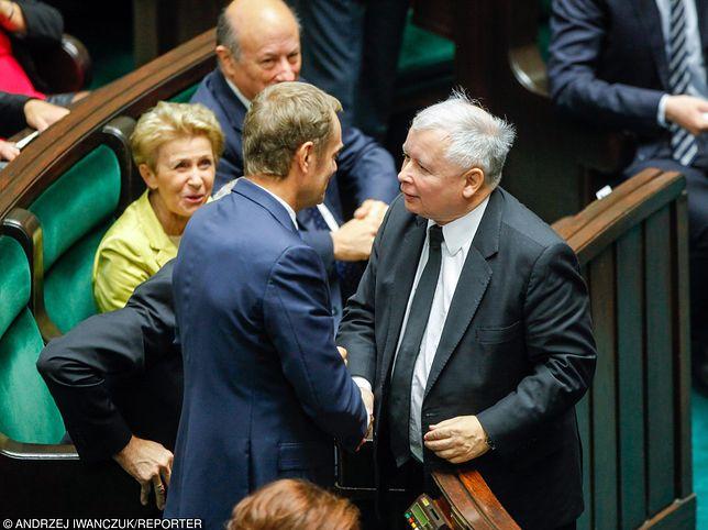 Polacy: realna przeciwwaga dla Jarosława Kaczyńskiego to Donald Tusk