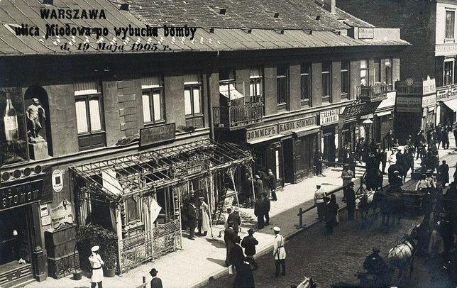 Ulica Miodowa 6 tuż po wybuchu bomby 19 maja 1905