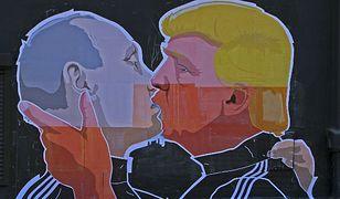 Wilno, mural przedstawiający pocałunek Donalda Trumpa i Władimira Putina