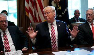 Sekretarz Stanu Rex Tillerson, prezydent Donald Trump i i szef Pentagonu James Mattis