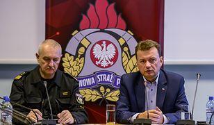Minister spraw wewnętrznych i administracji Mariusz Błaszczak i komendant główny Państwowej Straży Pożarnej gen. brygadier Leszek Suski