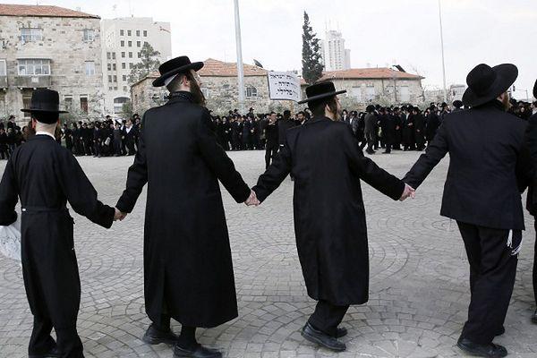 Ultraortodoksyjni Żydzi protestują przeciwko planom powoływania studentów jesziw do sił zbrojnych; 6 lutego, Jerozolima