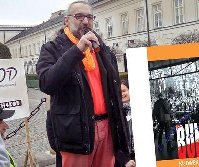 "Mateusz Kijowski i okładka książki ""Buntownik"""