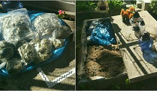 Nietypowe znalezisko pod płytą grobu. Policjanci najpierw zobaczyli coś niebieskiego