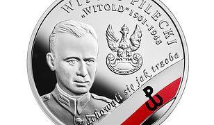 """Rewers monety kolekcjonerskiej """"Wyklęci przez komunistów żołnierze niezłomni - Witold Pilecki""""."""