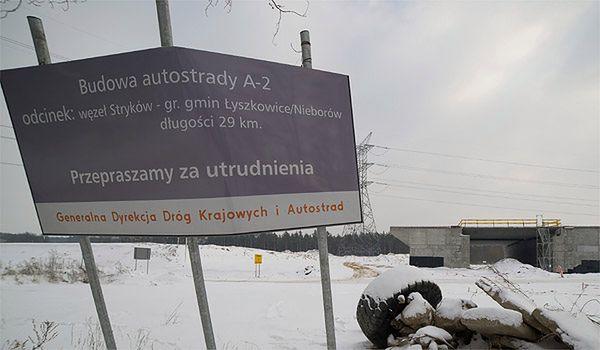 Fragment A2 między Łodzią a Warszawą, odcinek nie dokończony przez firmę COVEC
