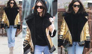 LOOK OF THE DAY: Kendall Jenner w złotej kurtce ACNE