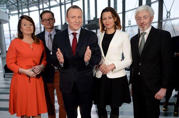 Jacek Kurski i Maciej Stanecki oraz dziennikarze Anna Popek, Danuta Holecka i Przemysław Babiarz