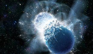 Wizualizacja zderzenia dwóch gwiazd neutronowych.