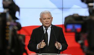 Jarosław Kaczyński na konferencji prasowej.