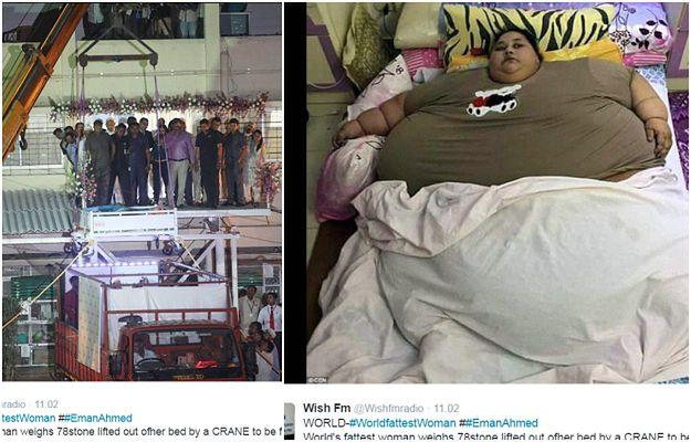 Waży PÓŁ TONY i w końcu trafiła do szpitala. Z pomocą ciężarówki i dźwigu