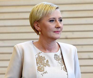 Agata Duda w koronkowej sukience na spotkaniu z parą prezydencką Niemiec