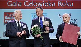 Sędzia Bogusław Nizieński, prezydent Andrzej Duda i prezes PiS Jarosław Kaczyński
