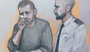 Portret wykonany przez rysownika sądowego. Na szkicu mężczyzna płacze, słuchając przedstawianych mu zarzutów
