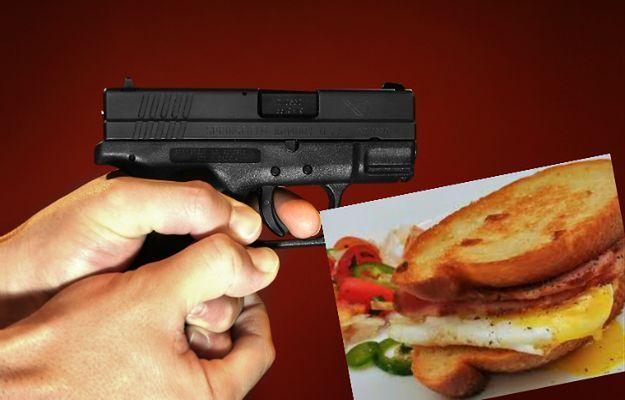 Chciał zastrzelić żonę i córkę z powodu nadgryzionej kanapki