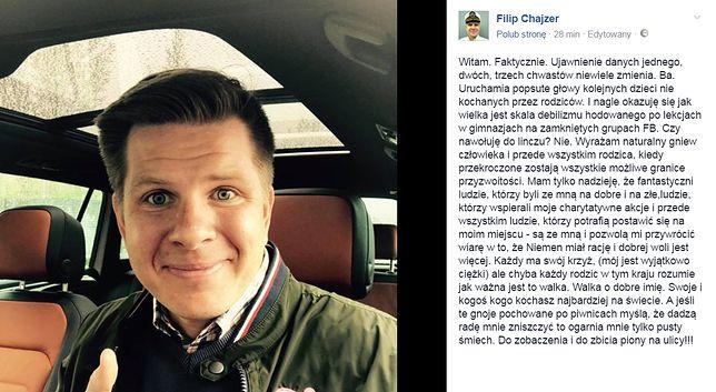 """Filip Chajzer """"przeprasza"""" i odpowiada hejterom. Wyzywając ich od debili"""