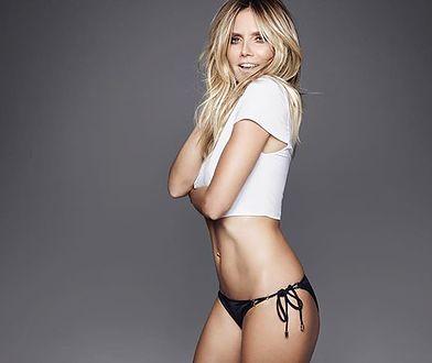 Heidi Klum pozuje w za małym bikini. Ledwo zakrywa jej ciało