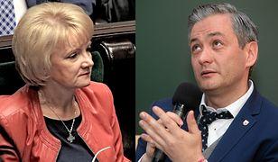 Poseł PiS Jolanta Szczypińska i prezydent Słupska Robert Biedroń
