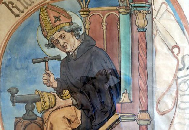 """Fragment obrazu """"Święty Longin, patron dzwonkarzy"""" Jana Matejki."""