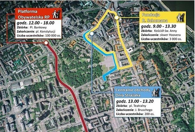 Marsze i uroczystości, w Warszawie. Spore zmiany w komunikacji