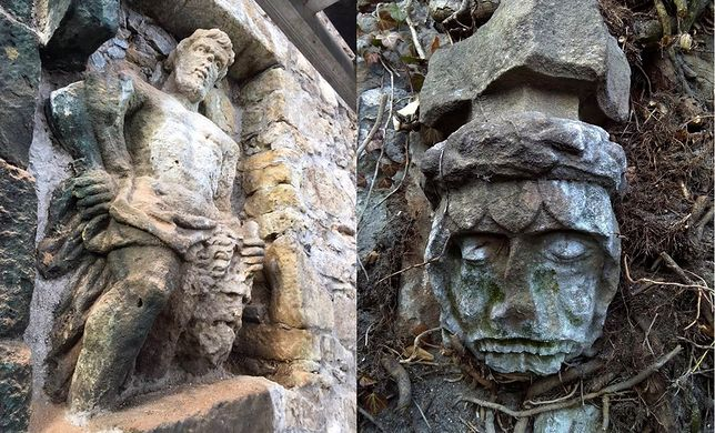 Zamek Książ - odkryto płaskorzeźby na murze. Skrywały się pod bluszczem