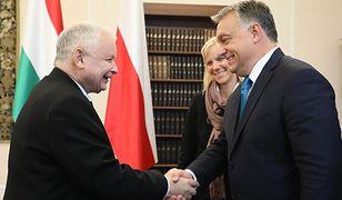 Prezes PiS Jarosław Kaczyński i premier Węgier Viktor Orban podczas spotkania w Sejmie