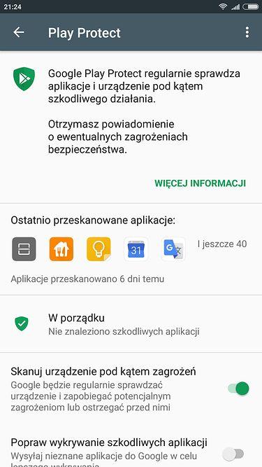 ...z dostępnym Google Play Protect.