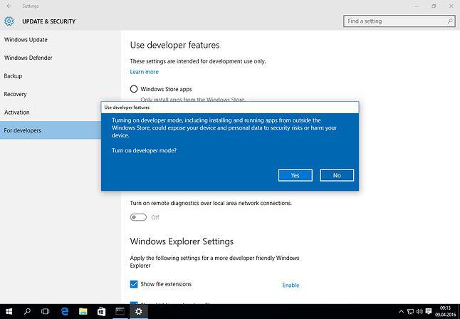 Włączenie trybu deweloperskiego na Windowsie 10 brzmi groźnie