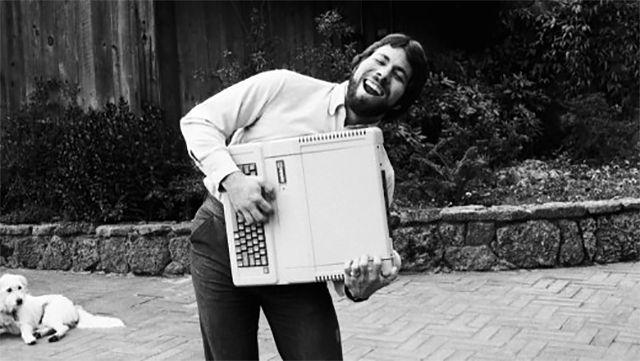 Steve Wozniak i Apple IIe, 1983