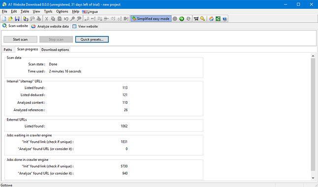Widok postępu skanowania na bieżąco informuje o liczbie przeanalizowanych elementów pobieranej witryny