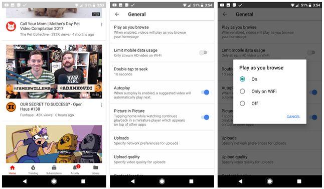 Ustawienia autoodtwarzania w mobilnym YouTubie, źródło: Android Central
