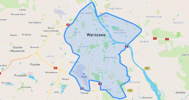 Mapa objęta pilotażowym programem współdzielenia. Po Warszawie przyjdzie czas na Trójmiasto.