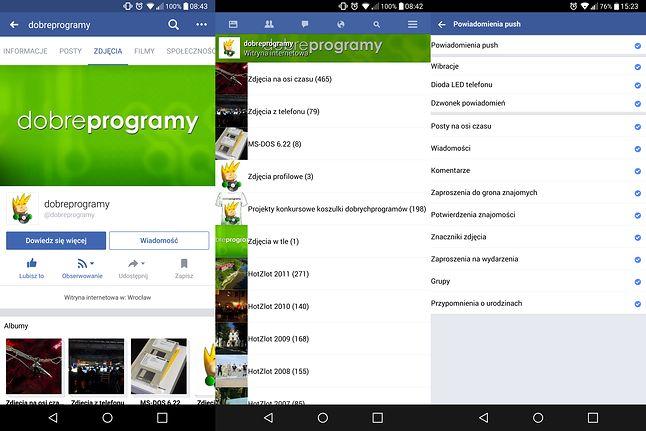 Od lewej: pełna wersja mobilnego Facebooka, następnie ten sam widok w Facebooku Lite, na końcu ustawienia powiadomień w lekkiej wersji aplikacji