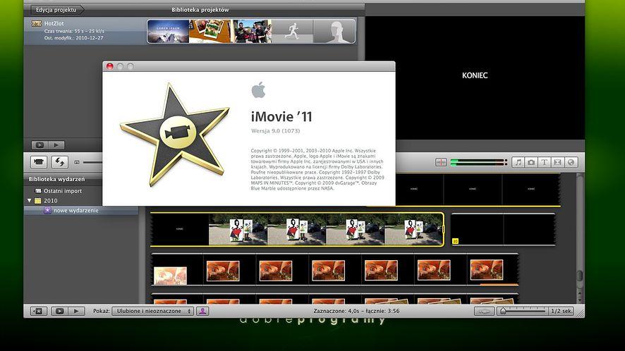 Informacje o programie iMovie '11