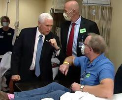 Koronawirus w USA. Mike Pence bez maseczki ochronnej. Spotkał się z pacjentami