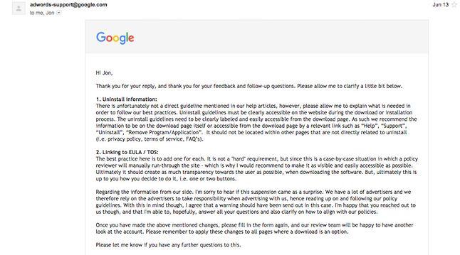 E-mail z żądaniami wobec Vivladiego, źródło: The Register