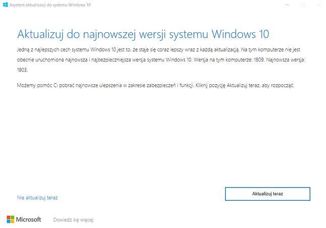 Aktualizacja systemu przy użyciu Asystenta sprowadza się tylko do kilku kliknięć.