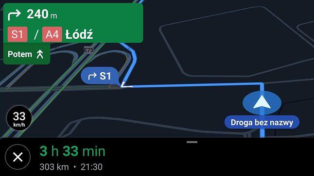 Mapy Google w smartfonie pokazują wirtualny prędkościomierz. Bardziej brakuje tu informacji o ograniczeniach.