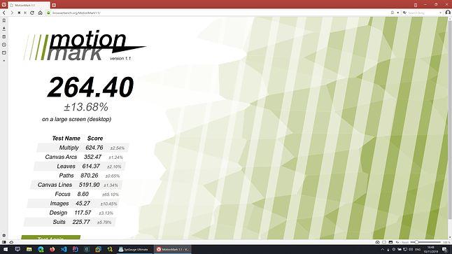 Vivaldi - MotionMark - Wynik: 264.40