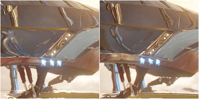Kamera całkowicie statyczna; po lewej – TAA, po prawej – DLSS
