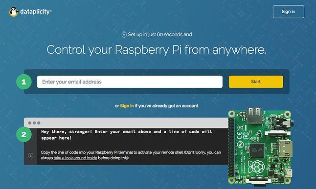Aby zainstalować klienta Dataplicity na Raspberry, wystarczy podać maila i przekleić wygenerowane polecenie do terminalu w Raspberry.