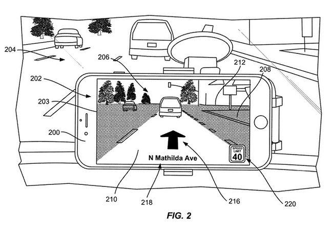 Nowa nawigacja Apple Maps, ilustracja z wniosku patentowego