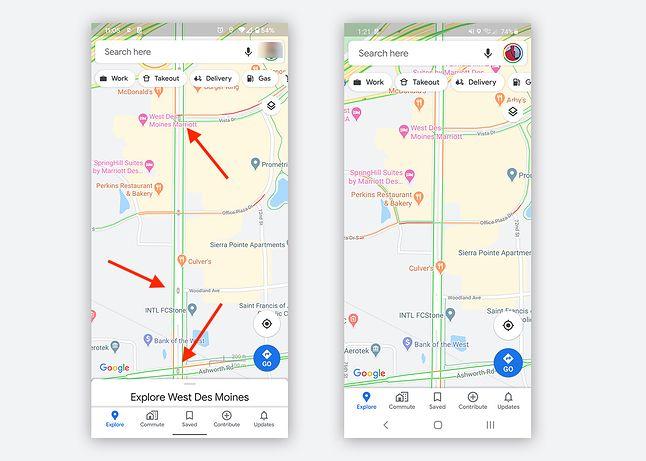 Sygnalizacja świetlna w Mapach Google, źródło: Droid Life.